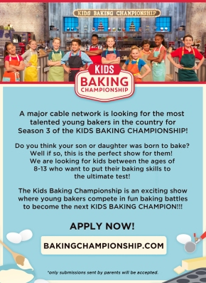 Casting Call:  Food Network's Kids Baking Championship